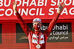 Tadej Pogacar (SLO) UAE Team Emirates takes over the race leaders Red Jersey at the end of Stage 2 of the 2021 UAE Tour running 13km around Al Hudayriyat Island, Abu Dhabi, UAE. 22nd February 2021.  <br /> Picture: LaPresse/Fabio Ferrari | Cyclefile<br /> <br /> All photos usage must carry mandatory copyright credit (© Cyclefile | LaPresse/Fabio Ferrari)