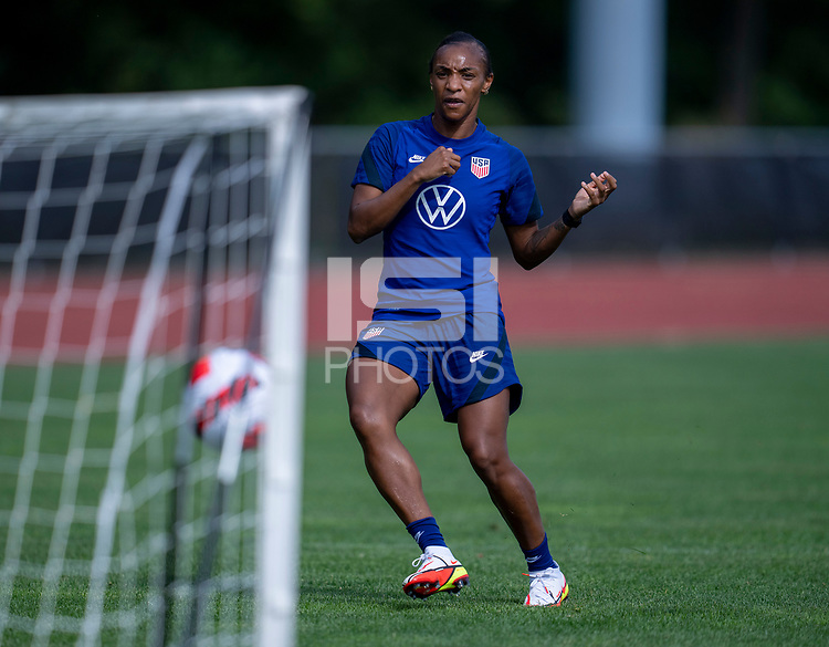 CLEVELAND, OH - SEPTEMBER 14: Crystal Dunn of the United States takes a shot during a training session at the training fields on September 14, 2021 in Cleveland, Ohio.