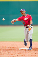 Shortstop Francisco Lindor #12 during the USA Baseball 18U National Team Trials at the USA Baseball National Training Center on June 30, 2010, in Cary, North Carolina.  Photo by Brian Westerholt / Four Seam Images