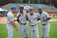 Hudson Valley Renegades Jim Haley (38), Joseph Astacio (7), Miles Mastrobuoni (9) and Angel Perez (22) before a game against the Batavia Muckdogs on July 31, 2016 at Dwyer Stadium in Batavia, New York.  Hudson Valley defeated Batavia 4-1.  (Mike Janes/Four Seam Images)