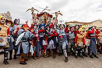 "Europe, Italy, Tuscany, Viareggio,    figures of the chariot: ""Proxima ventura"" of Lebrigè Roger in parade"