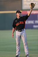 Shaun Anderson (22) of the San Jose Giants warms up before pitching against the Inland Empire 66ers at LoanMart Field on August 30, 2017 in San Bernardino California. San Jose defeated Inland Empire, 3-0. (Larry Goren/Four Seam Images)