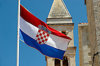 Croatian national flag, Supetar harbour, Bra? island, Croatia
