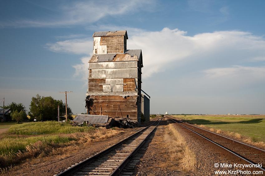 Abandoned Old Grain Silo Along Railroad Tracks in Walker, KS