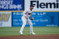 Somerset Patriots shortstop Oswald Peraza (30) on defense against the Altoona Curve at TD Bank Ballpark on July 24, 2021, in Somerset NJ. (Brian Westerholt/Four Seam Images)