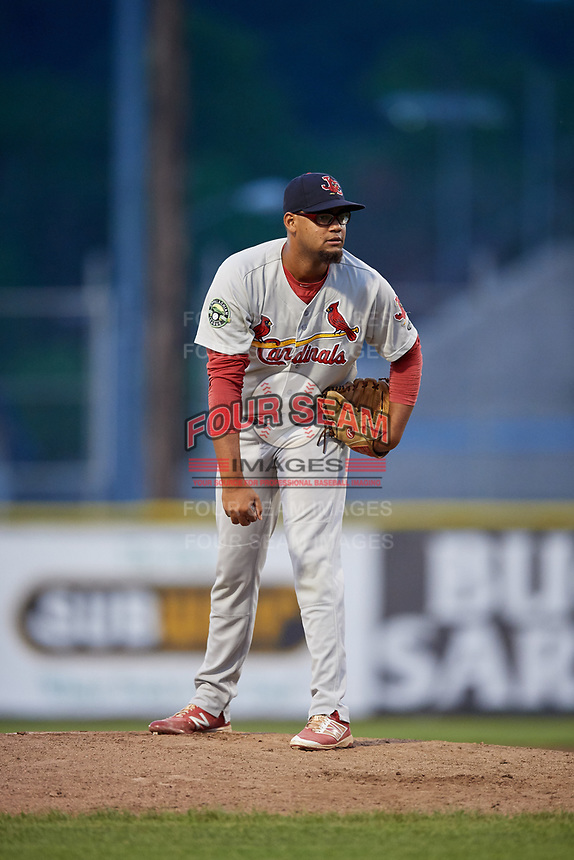 Johnson City Cardinals relief pitcher Juan Alvarez (27) looks in for the sign during the second game of a doubleheader against the Princeton Rays on August 17, 2018 at Hunnicutt Field in Princeton, Virginia.  Princeton defeated Johnson City 12-1.  (Mike Janes/Four Seam Images)