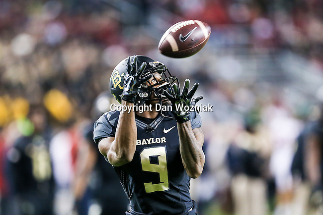 Baylor Bears wide receiver KD Cannon (9) in action during the game between the Oklahoma Sooners  and the Baylor Bears at the McLane Stadium in Waco, Texas.