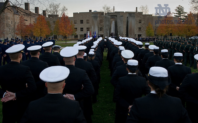 Notre Dame ROTC cadets stand at parade rest during the 2010 Veterans Day ceremonies at the Clarke Memorial Fountain (Stonehenge) Nov. 11, 2010...Photo by Matt Cashore/University of Notre Dame