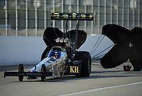 Nov. 13, 2011; Pomona, CA, USA; NHRA top fuel dragster driver Del Worsham during the Auto Club Finals at Auto Club Raceway at Pomona. Mandatory Credit: Mark J. Rebilas-.