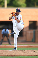 Team Stars starting pitcher Brandon Sproat (28) (Florida) during a game against Team Stripes on July 6, 2021 at Pioneer Park in Greeneville, Tennessee. (Tracy Proffitt/Four Seam Images)