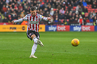Sheffield United's midfielder Ollie Norwood (16) crosses the ball during the Sky Bet Championship match between Sheff United and Leeds United at Bramall Lane, Sheffield, England on 1 December 2018. Photo by Stephen Buckley / PRiME Media Images.