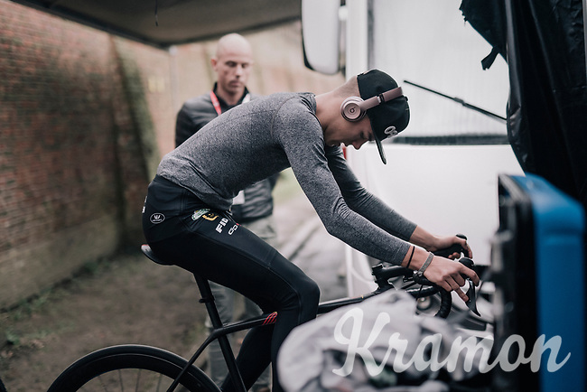 Thibau Nys (BEL) warming up on the rollers under the watchful eye of his dad; Sven Nys<br /> <br /> Junior Men's Race<br /> Belgian National CX Championschips<br /> Kruibeke 2019