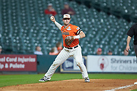 Ben Haefner (6) of the Sam Houston State Bearkats makes a throw to first base against the Mississippi State Bulldogs during game eight of the 2018 Shriners Hospitals for Children College Classic at Minute Maid Park on March 3, 2018 in Houston, Texas. The Bulldogs defeated the Bearkats 4-1.  (Brian Westerholt/Four Seam Images)