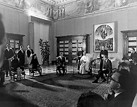 Rome, Vatican - October 16, 1969 File Photo -<br /> <br /> The Apollo 11 astronauts, Neil A. Armstrong, Edwin E. Aldrin, Jr., Michael Collins, and their wives receive a papal audience by Pope Paul VI in the Papal Library, St. Peters Cathedral at the Vatican. The GIANTSTEP-APOLLO 11 Presidential Goodwill Tour emphasized the willingness of the United States to share its space knowledge, and carried the Apollo 11 astronauts and their wives to 24 countries and 27 cities in 45 days.