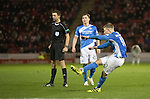 Aberdeen v St Johnstone…10.12.16     Pittodrie    SPFL<br />David Wotherspoon's free kick hits the post<br />Picture by Graeme Hart.<br />Copyright Perthshire Picture Agency<br />Tel: 01738 623350  Mobile: 07990 594431