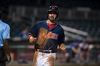AZL Indians 2 center fielder Jonathan Engelmann (11) crosses home plate during an Arizona League game against the AZL Dodgers at Goodyear Ballpark on July 12, 2018 in Goodyear, Arizona. The AZL Indians 2 defeated the AZL Dodgers 2-1. (Zachary Lucy/Four Seam Images)