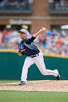 Columbus Clippers relief pitcher Jeff Beliveau (36) delivers a pitch during a game against the Gwinnett Stripers on May 17, 2018 at Huntington Park in Columbus, Ohio.  Gwinnett defeated Columbus 6-0.  (Mike Janes/Four Seam Images)