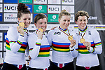 The team of United States with Kelly Catlin, Chloe Dygert, Kimberly Geist and Jennifer Valente celebrate winning in the Women's Team Pursuit Finals as part of the 2017 UCI Track Cycling World Championships on 13 April 2017, in Hong Kong Velodrome, Hong Kong, China. Photo by Chris Wong / Power Sport Images
