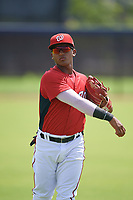 GCL Nationals Edangel Tovar (11) during warmups before a Gulf Coast League game against the GCL Astros on August 9, 2019 at FITTEAM Ballpark of the Palm Beaches training complex in Palm Beach, Florida.  GCL Nationals defeated the GCL Astros 8-2.  (Mike Janes/Four Seam Images)