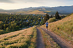 Jogger on Mount Sentinel trails above Missoula, Montana