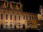 Town Hall Stadhuis at Night, Burg Square, Bruges, Brugge, Belgium