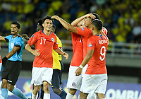 PEREIRA - COLOMBIA, 18-01-2020: Ivan Morales de Chile celebra después de anotar el tercer gol de su equipo a Ecuador durante partido de la fecha 1, grupo A, del CONMEBOL Preolímpico Colombia 2020 jugado en el estadio Hernán Ramírez Villegas de Pereira, Colombia. /  Ivan Morales of Chile celebrates after scoring the third goal of his tam to Ecuador during match of the date 1, group A, for the CONMEBOL Pre-Olympic Tournament Colombia 2020 played at Hernan Ramirez Villegas stadium in Pereira, Colombia. Photo: VizzorImage / Julian Medina / Cont