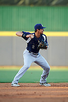 Pensacola Blue Wahoos shortstop Juan Perez (2) throws to second during a game against the Mississippi Braves on May 27, 2015 at Trustmark Park in Pearl, Mississippi.  Pensacola defeated Mississippi 7-5 in fourteen innings.  (Mike Janes/Four Seam Images)