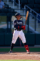 Atlanta Braves William Contreras (60) bats during a Major League Spring Training game against the Boston Red Sox on March 7, 2021 at CoolToday Park in North Port, Florida.  (Mike Janes/Four Seam Images)