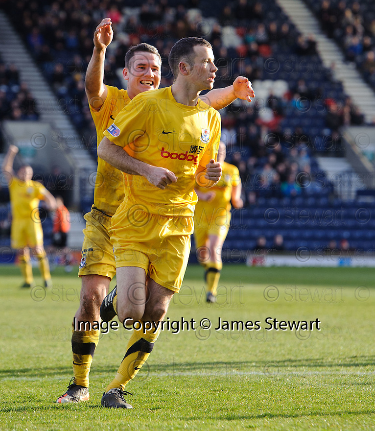 EDDIE MALONE CELEBRATES AFTER HE SCORES AYR'S SECOND GOAL