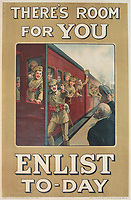"""BNPS.co.uk (01202) 558833<br /> Pic: Onslows/BNPS<br /> <br /> WW1 recruitment posters part of the poster sale<br /> """"There's Room For You Enlist To Day""""<br /> <br /> An incredibly-rare poster that was the forerunner for the famous 'Your Country Wants You' World War One recruitment advert has been discovered. <br /> The poster, featuring Lord Kitchener pointing his finger, was a news stand advert for an edition of the magazine London Opinion in September 1914.<br /> Officials from the War Office spotted it and decided they wanted the same design for their nationwide recruitment campaign for young men to join the army."""