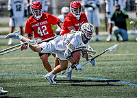 1 May 2021: University of Vermont Catamount Midfielder Thomas McConvey, a Junior from Toronto, Ontario, in action against the Stony Brook University Seawolves at Virtue Field in Burlington, Vermont. The Cats edged out the Seawolves 14-13 with less than one second to play in their America East Men's Lacrosse matchup.As Vermont's leading scorer, McConvey posted 29 goals, 2nd in the league, earning him America East All-Conference First Team status. Mandatory Credit: Ed Wolfstein Photo *** RAW (NEF) Image File Available ***