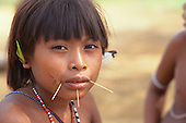 Amazon, Brazil. Yanomami girl with traditional bamboo decorations piercing her face, feather earrings and bead necklaces.