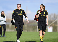 20190228 - LARNACA , CYPRUS : Belgian Justien Odeurs pictured with Lenie Onzia (r) during a Matchday -1 training from The Belgian Red Flames prior to their game against the women team of Austria , on Thursday 28 February 2019 at the Alpha Sports Grounds in Larnaca , Cyprus . This will be the second game in group C for Belgium during the Cyprus Womens Cup 2019 , a prestigious women soccer tournament as a preparation on the European Championship 2021 qualification duels. PHOTO SPORTPIX.BE | DAVID CATRY