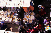 Cusco, Peru.  View from above of the market, people buying and selling goods.