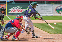 8 July 2014: Vermont Lake Monsters infielder Yairo Munoz in action against the Lowell Spinners at Centennial Field in Burlington, Vermont. The Lake Monsters rallied with two runs in the 9th to defeat the Spinners 5-4 in NY Penn League action. Mandatory Credit: Ed Wolfstein Photo *** RAW Image File Available ****