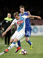 Calcio, Serie A: Napoli, stadio San Paolo, 2 aprile, 2017.<br /> Napoli's Ivan Strinic (l) in action with Juventus Stephan Lichtsteiner (r) during the Italian Serie A football match between Napoli and Juventus at San Paolo stadium, April 2, 2017<br /> UPDATE IMAGES PRESS/Isabella Bonotto