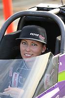 Feb. 15, 2013; Pomona, CA, USA; NHRA top fuel dragster driver Leah Pruett during qualifying for the Winternationals at Auto Club Raceway at Pomona. Mandatory Credit: Mark J. Rebilas-