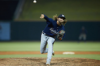 Mississippi Braves relief pitcher Brooks Wilson (43) in action against the Birmingham Barons at Regions Field on August 3, 2021, in Birmingham, Alabama. (Brian Westerholt/Four Seam Images)