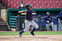 Cedar Rapids Kernels center fielder Gilberto Celestino (8) during a Midwest League game against the Kane County Cougars at Northwestern Medicine Field on April 28, 2019 in Geneva, Illinois. Kane County defeated Cedar Rapids 3-2 in game one of a doubleheader. (Zachary Lucy/Four Seam Images)
