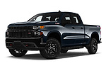 Stock pictures of low aggressive front three quarter view of a 2020 Chevrolet Silverado 1500 Custom Trail Boss 4 Door Pick Up