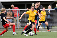 Katie Barrott of Capital controls the ball during the ISPS Handa Women's Premiership - Capital Football v Canterbury Utd Pride at Petone Memorial Park, Wellington on Saturday 5 December 2020.<br /> Copyright photo: Masanori Udagawa /  www.photosport.nz