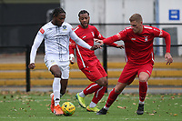 Bagasan Graham of Romford and Allen George of Aveley during Romford vs Aveley, Pitching In Ishmian League North Division Football at Mayesbrook Park on 26th September 2020