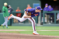 Clemson Tigers starting pitcher Pat Krall (36) delivers a pitch during a game against the Notre Dame Fighting Irish at Doug Kingsmore Stadium on March 11, 2017 in Clemson, South Carolina. The Tigers defeated the Fighting Irish 6-5. (Tony Farlow/Four Seam Images)