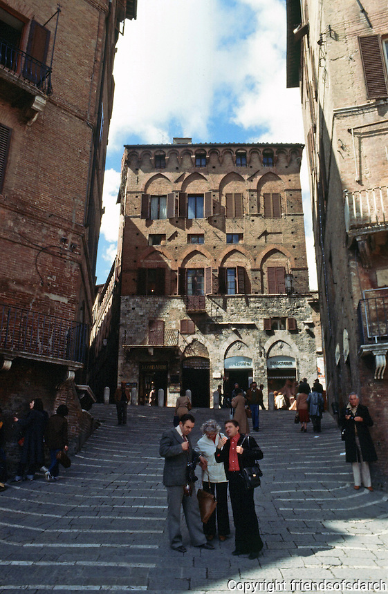 Siena:  A Palace glimpsed from the Piazza Del Campo.  Photo '83.