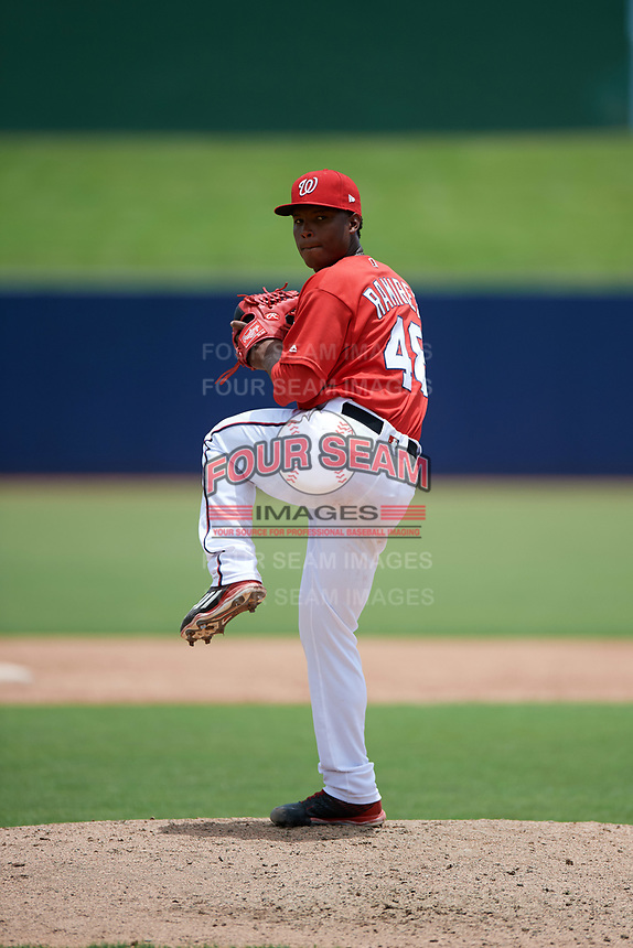 GCL Nationals relief pitcher Nector Ramirez (48) delivers a warmup pitch during the second game of a doubleheader against the GCL Mets on July 22, 2017 at The Ballpark of the Palm Beaches in Palm Beach, Florida.  GCL Mets defeated the GCL Nationals 4-1.  (Mike Janes/Four Seam Images)