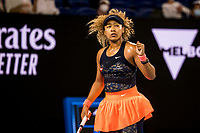 20th February 2021, Melbourne, Victoria, Australia; Naomi Osaka of Japan celebrates after winning a game during the Women's Singles Final of the 2021 Australian Open on February 20 2021, at Melbourne Park in Melbourne, Australia.