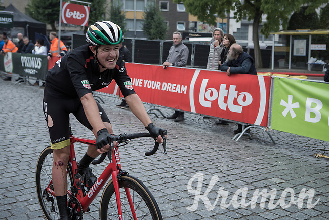 Australian National Champion Miles Scotson (AUS/BMC) was involved in a crash during the last local lap and finishes last. <br /> <br /> Binckbank Tour 2017 (UCI World Tour)<br /> Stage 4: Lanaken > Lanaken (BEL) 155km