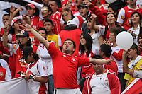 """BOGOTA-COLOMBIA-ENERO 27: Hinchas de Santa Fe animan a su equipo durante juego por la SuperLiga de Campeones, en el estadio Nemesio Camacho """"El Campin"""" en la ciudad de Bogotá, enero 27 de 2013, (Foto/VizzorImage / Felipe Caicedo / Staff). Supportes of Santa Fe cheer their team during a match For the Champions Super League at the Nemesio Camacho """"El Campin"""" stadium in Bogota city, on January 24, 2013 (Photo: VizzorImage / Felipe Caicedo / Staff) ."""