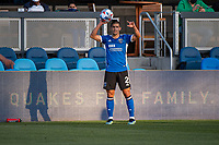 SAN JOSE, CA - MAY 15: Luciano Abecasis #2 of the San Jose Earthquakes readies for a throw in during a game between San Jose Earthquakes and Portland Timbers at PayPal Park on May 15, 2021 in San Jose, California.
