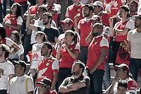 IBAGUÉ -COLOMBIA, 14-12-2016. Hinchas del Santa Fe animan a su equipo durante partido de ida entre Deportes Tolima y Independiente Santa Fe por la final de la Liga Águila II 2016 jugado en el estadio Manuel Murillo Toro de Ibagué. / Fans of Santa Fe cheer their team during first leg match between Deportes Tolima and Independiente Santa Fe for the final of the Aguila League II 2016 played at Manuel Murillo Toro stadium in Ibague city. Photo: VizzorImage/ Gabriel Aponte / Staff